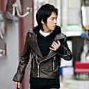 abrigo de cuero ropa de moda delgado postal de kisstiesmen