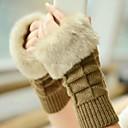Frauen warme Pelz Dreieck Baumwollgarn gestrickt fingerlose Handschuhe