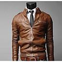 británico chaqueta de cuello alto puro europeo de los hombres para hombre de cuero de la PU locomotora