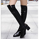 Womens Shoes Pointed Toe Chunky Heel Leather Knee High Boots