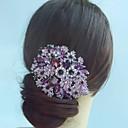 aleación de moda tocados peine cristalino del rhinestone púrpura flor del pelo de las mujeres