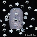 100pcs 3d estrella de cinco puntas remaches de metal de plata decoración del arte del clavo