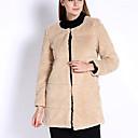 abrigos de piel delgada temperamento moda cuello redondo de manga larga de las mujeres Lopoe