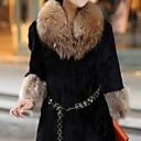 abrigos elegancia temperamento delgado de piel de 3/4 de la manga de las mujeres xt