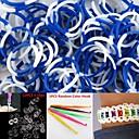 600PCS WhiteBlue 4-Segment DIY Twistz Silicone Rubber Bands for Rainbow Loom Bracelets with HookS-clips