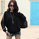 NUO WEI SI Womens Round Neck Loose Fit Long Sleeve Blouse