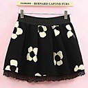 Womens Retro Floral Pleated Skirts