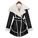 Feiya abrigo de cuero de piel europeo 8853 negro