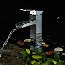 Charmingwater Contemporary  Waterfall Chrome Brass  Single Handle Bathroom Vessel Faucet