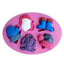 Christmas Claus Clothes Gloves Shoes Hat Fondant Cake Chocolate Silicone Mold Cake Decoration Tools,L11cmW7.5cmH1.2cm
