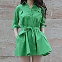 Womens Lapel Collar Solid Color Slim Dress