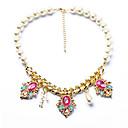 faltar collar colgante de cristal de la moda de la perla europea (collar: 52.5cm, gota: 3.8cm) (ajustable)