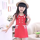 Girl s  Sleeveless Navy Skirt with Round Collar in Red and White.   Preppy Style Dress