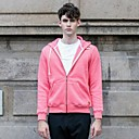 Mens Casual Fleece Lining Solid Color Hoodie Coat