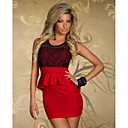 Beauty 2014 New Floral Lace Bodycon Peplum Dress Summer Sleeveless Mini Casual Dress 9026