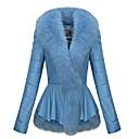 abrigo de cuero de color sólido de las mujeres con cuello de piel de zorro