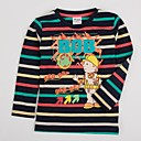 Boys Fashion T shirt Round Neck Cartoon Printed Long Sleeeve Stripes T shirt Antumn Winter Children Tees