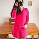 Womens Round Collar Mohair Long Sleeve Knitting Dress