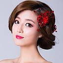 Red Flowers with Zirconia Wedding Headpiece-Set of 3