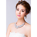 Resplendent Silver Plated Rhinestones Wedding Jewelry Sets(Necklace,Earrings)