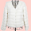 mokio abrigo de piel elegante causal de la moda coreana de las mujeres