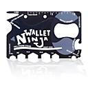 19 en 1 ninjas multifuncional herramienta de tarjeta mini herramienta de acero inoxidable / cartera - negro  gris