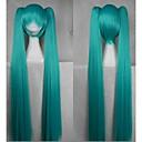 cosplay del partido peluca de pelo largo sintético recta verde oscuro