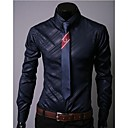 Manlodi Mens Solid Color Check Pattern Slim-Fitting Shirt