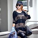 Womens Leisure Leopard Splicing Bat Sleeve T-Shirt