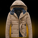 Senleisi Mens Solid Color Thick Hoodie Warm Coat MY01(Khaki,Blue)