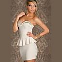 Beauty Women Strapless Spike Wrap Fitted Peplum Dress Sexy Mini Bodycon Bandage Dress Hot Club Dress 1349