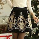 ailaike bordado de oro faldas de tul patinador de la mujer para mujer faldas de cintura alta falda plisada florales de invierno de la vendimia