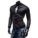 Mens Stand Collar Lattice Quilted Thickening Leather Casual Outerwear