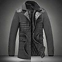 Mens Casual Plus Cotton Thickened Wool Coat