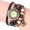 Womens Vintage Style Cherry Pendant Leather Band Quartz Analog Bracelet Watch (Assorted Colors)