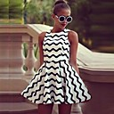 Women's Black and White Wave Pattern Ball Gown Dresses