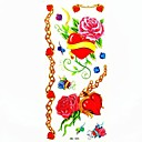 rosa impermeable y corazón etiqueta engomada del tatuaje del molde de la muestra tatuajes temporales de arte corporal (18.5cm  8.5cm)