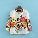 SkymotoWomens O Neck Print Flower Short Coat
