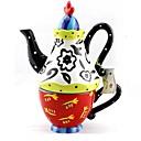 blanco y rojo surtido de flores con dibujos tetera y la taza establecen para el festival de regalo, pintura de cerámica