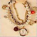 elegante reloj de pulsera de perlas de imitación de las mujeres de amapola