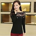 qamp;camisa de manga larga de encaje de base delgado cuello redondo de las mujeres de Y