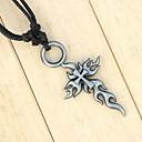 Image of corde de cire à la main ancienne flamme croix en argent collier pendentif hommes