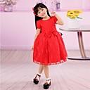 cuello redondo de manga corta de color rojo vestido de primera comunión bowknot