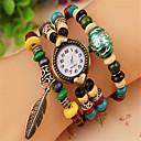 reloj brazalete de cuentas de madera colorida de la vendimia de las mujeres de amapola