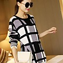 Womens Loose plaid long-sleeved pullover sweater