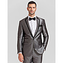 BlackGray Polyester Tailorde Fit Two-Piece Tuxedo