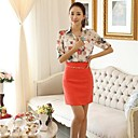 Womens Sweet Floral Print Puff Sleeve Blouse