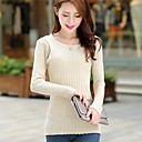 Womens Korean Round Collar Solid Color Long Sleeve Knitting Sweater(More Colors)