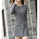 ER Womens Round Neck Occidental Tyle Tweed Overcoat