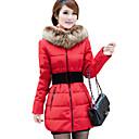 cuello de solapa dealcoo de la mujer térmica abrigo color sólido